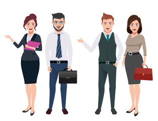 Business characters vector set with male and female business persons in different gestures and postures in white background. Vector illustration.