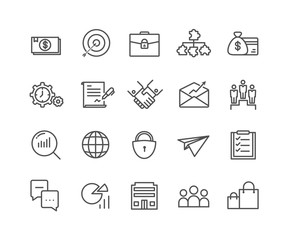Simple Set of Business vector thin line icons, Editable Stroke linear symbols.