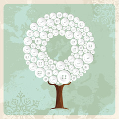 Tree made of fashion buttons decoration