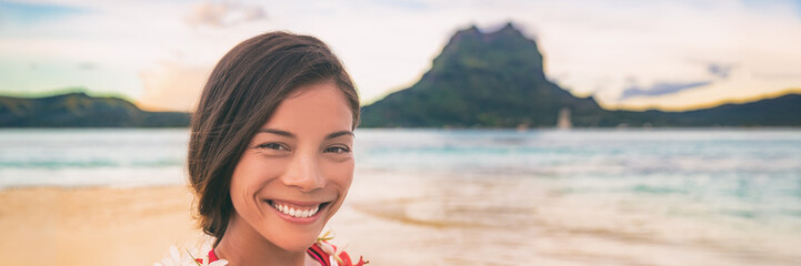 Wall Mural - Beach selfie Tropical cruise vacation smiling Asian woman smiling taking photo on Bora bora island paradise, summer vacation landscape panoramic banner.
