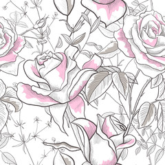 Seamless pattern with Rose, leaves and buds on a white background. Modern abstract design for paper, wallpaper, cover, fabric and other users. Vector illustration.