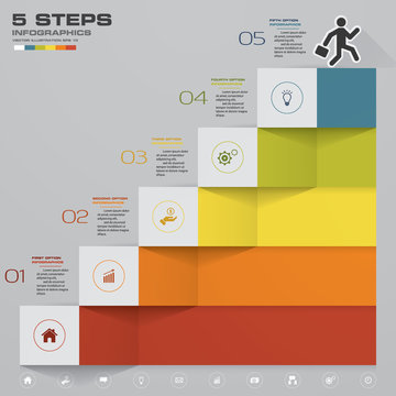 5 Steps staircase Infographic element for presentation. EPS 10.