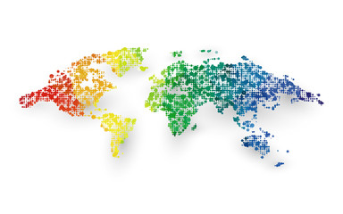 abstract colorful world map dotted graphic design