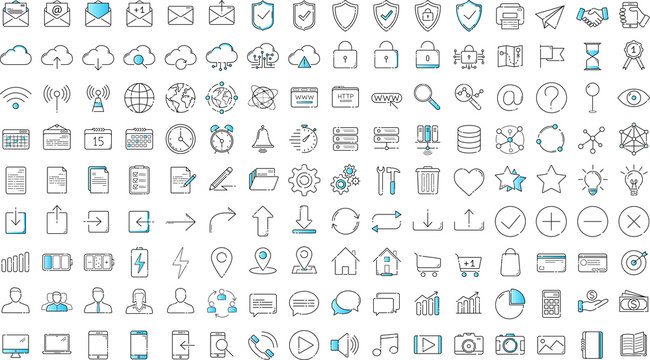 Black and blue business thin line icons set on white background