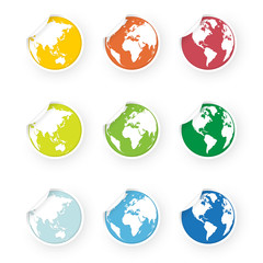 colored world globe icons stickers set