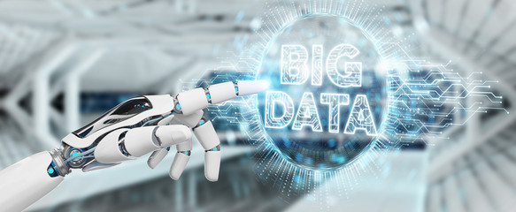 White humanoid hand using Big Data digital hologram 3D rendering