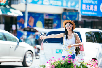 Girl traveling the tourist .