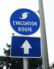 Hurricane Evacuation Route Blue and White Street Sign