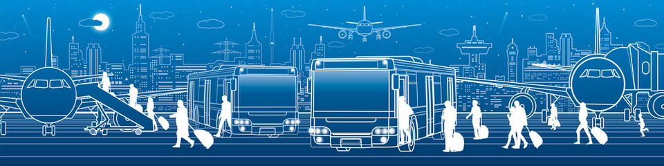 Transportation panoramic. Passengers enter and exit to the bus. Airport travel transportation infrastructure. The plane is on the runway. Night city on background, vector design art