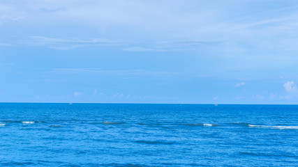Perfect ocean and blue sky background.