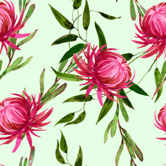 Seamless watercolor pattern of exotic pink flowers and plants.