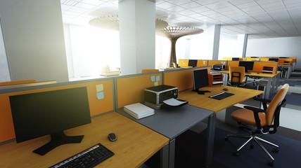 Großraumbüro nach Feierabend