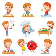 Vector Illustration Of Little Girl Eating