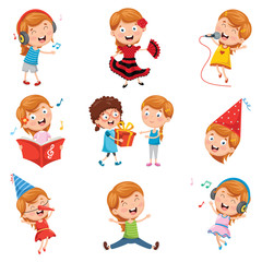 Vector Illustration Of Little Girl Party