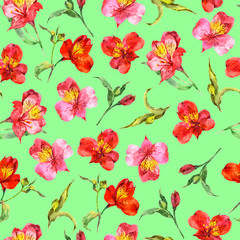 Seamless pattern from watercolor exotic red and pink orchids.