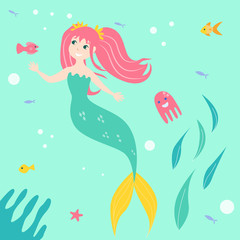 Little mermaid swimming with fishes
