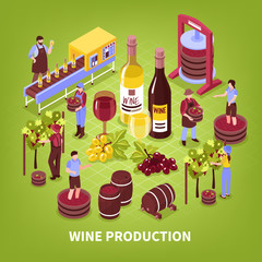Wine Production Isometric Illustration