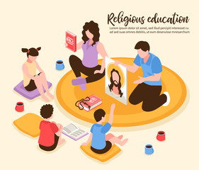 Home Religious Education Isometric Illustration