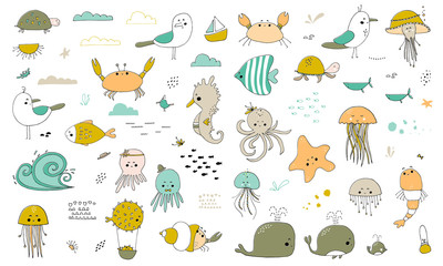 Vector set of hand drawn sea creatures