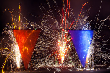 Fireworks Behind Transparent Red and Blue Banners