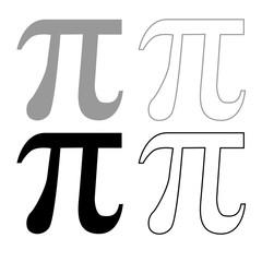 Symbol Pi icon outline set grey black color