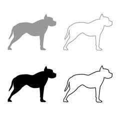 Pit bull terrier icon outline set grey black color