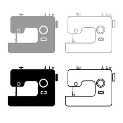 Sewing machine icon outline set grey black color