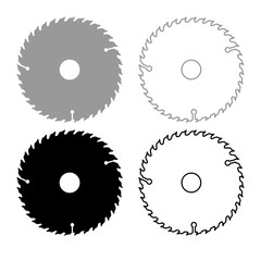 Circular disk icon outline set grey black color