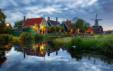Traditional house at the historic village of Zaanse Schans, Netherlands at night