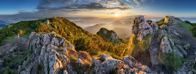 Landcape of mountain at sunset panorama from peak Velky Choc, Slovakia