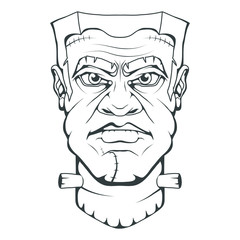 Monster created by Victor Frankenstein. Happy Halloween. Hand drawn Frankenstein Head. Monster concept. Vector artwork
