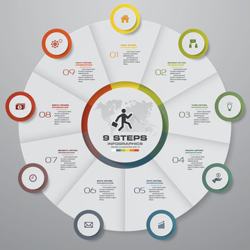 9 steps cycle chart infographics elements.EPS 10.