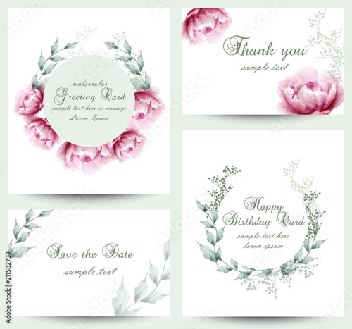 Watercolor peony flowers blossom card set vintage greeting cards watercolor peony flowers blossom card set vintage greeting cards wedding invitation thank you m4hsunfo