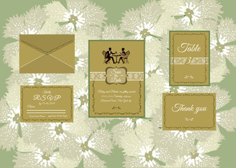 Wedding invitation isolated on floral background