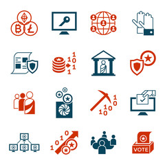 Crypto democracy icons set
