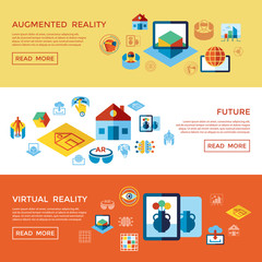 Augmented and virtual reality icons set