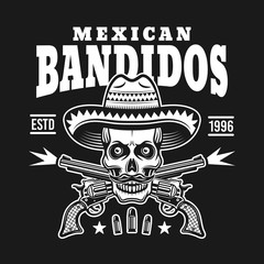 Skull in sombrero with two crossed pistols emblem