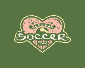 Emblem with rough texture for soccer team