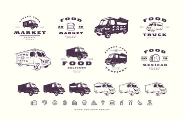 Set of emblems and logo for street food market, festival, delivery