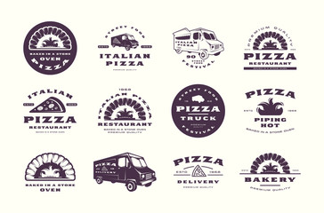 Set of pizzeria and bakery labels, emblems and logos