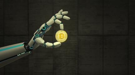 Robot Hand Golden Bitcoin