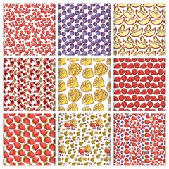 Vector set fruits and berries seamless pattern. Sketch hand draw outline illustration on white background.