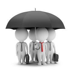 3d small people - manager with an umbrella and his team