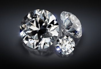 three diamonds on a dark background