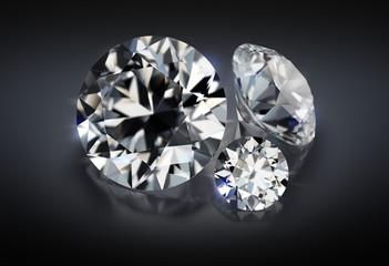 three diamonds on a dark background