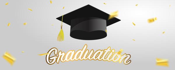 Graduate caps and gold confetti