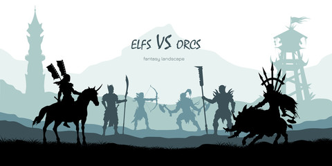 Black silhouette of battle orcs and elfs. Fantasy landscape. Medieval 2d panorama. Knights and warriors fighting scene. Scenery with towers