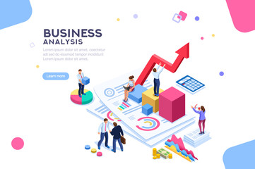 Balance financial value, management and administration concept. Characters, people engineering a plan. Statistic, calculating financial risk graph. Flat Isometric characters vector illustration. - fototapety na wymiar
