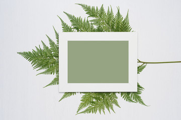 Stylish minimal composition with white photo frame and green leaves on a white wooden background. Empty photo frame and green leaves. flat lay, top view.