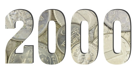 2000 3d Number Shiny silver coins textures for designers. White isolated